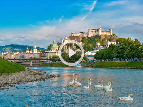 View to the oldtown with the fortress and swans on the Salzach | © Tourismus Salzburg / Günter Breitegger