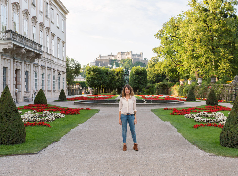 Mirabell Gardens in Salzburg with view to the Fortress | © Tourismus Salzburg GmbH
